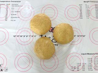 中种胡萝卜吐司,将面团分成三等份揉圆盖上保鲜膜松弛10分钟。