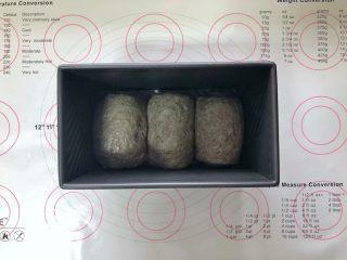 黑芝麻吐司(一次发酵),收口朝下码入吐司盒中,盖上保鲜膜室温下进行发酵。