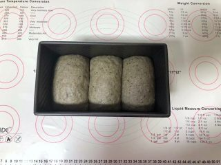 黑芝麻吐司(一次发酵),发酵至吐司盒的7分满。