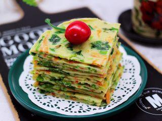 鹅蛋菠菜早餐饼,啦啦啦,香酥可口的鹅蛋菠菜早餐饼出锅咯,用刀切块,这样方便食用。