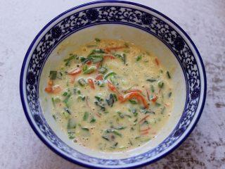 鹅蛋菠菜早餐饼,把所有的食材混合搅拌均匀后。