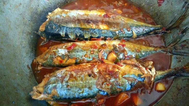 香辣鲅鱼,汤汁粘稠,关火出锅