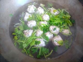 鲅鱼丸子汤,鱼丸全部飘起,放入香菜关火