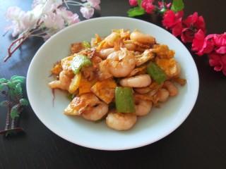 荷包蛋炒虾仁