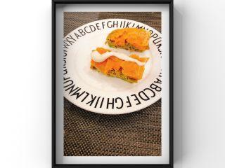 牛油果蒸牛肉红薯糕,摆盘完成