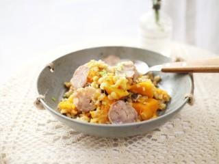 一键式,糙米南瓜腊肉饭,成品图