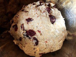 蔓越莓全麦面包,6. 所有食材混合在一起,和成面团