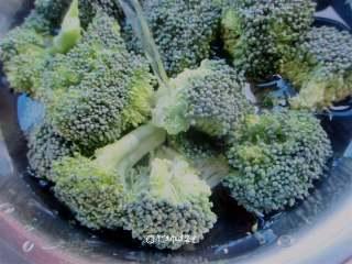 西兰花拌木耳,清水冲洗干净,用少许盐浸泡20分钟(去农药残留)捞出沥干