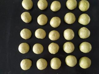 青蛙🐸挤挤包,把基础发酵好的材料A面团,取出,排气,平均分成25份,每个小面团用手在操作台上揉滚圆;