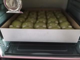 青蛙🐸挤挤包,把烤盘放入预热好的烤箱中下层,上下火160度烘烤30-35分钟;