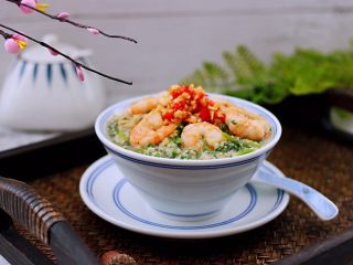 豆渣茼蒿虾仁小豆沫,营养丰富又健康美味。