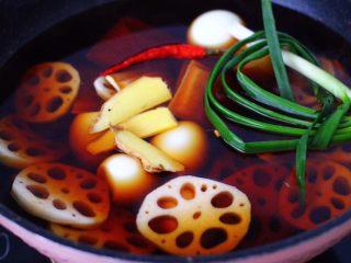 潮汕卤味,再加入葱和姜片。