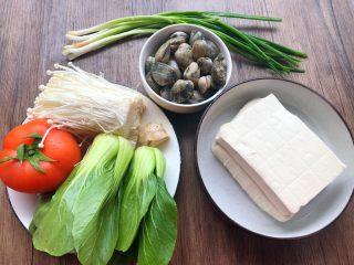 豆腐杂烩汤,食材合影