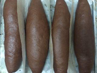 可可麻薯软欧,放烤箱底下坐热水发酵约1小时至两倍大