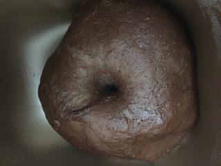 可可麻薯软欧,面包面团发酵至2倍大