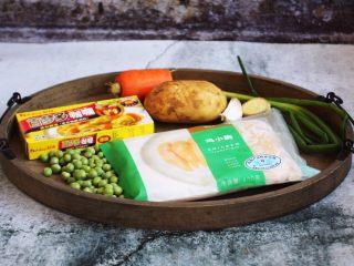 咖喱土豆鸡丁饭,准备好食材。
