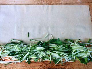 京酱肉丝,豆皮平铺在菜板上切好的胡萝卜、黄瓜、香菜、葱均匀的摆在豆皮的一侧