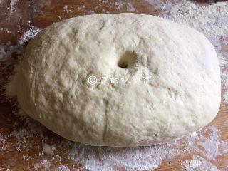 豆沙白玉卷,发至差不多有原来的两倍大,用手指在面团中间戳一个洞,洞不会回缩、塌陷,就是发酵好了。