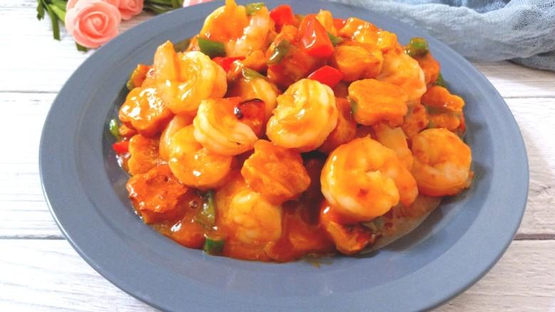 番茄酱豆干炒虾仁