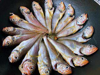 家焖黄花鱼,依次摆入黄花鱼中小火煎3分钟左右