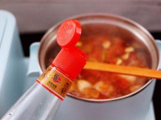 虾滑番茄豆干汤,加入芝麻油增加香味。