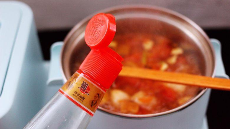 虾滑番茄豆干汤,加入<a style='color:red;display:inline-block;' href='/shicai/ 3738'>芝麻油</a>增加香味。