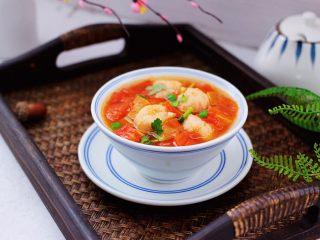虾滑番茄豆干汤,成品一