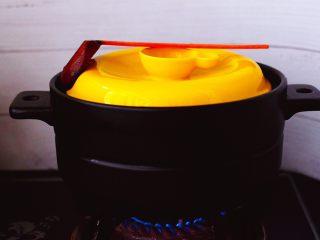 姬松茸板栗炖鸡汤,盖上砂锅盖子,小火炖煮1个小时后。