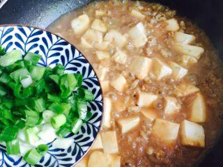 洋葱肉末烩豆腐,撒葱花