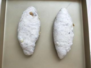 全麦葡萄干核桃面包,将做好的面包胚摆入烤箱,放入烤箱中进行第二次发酵
