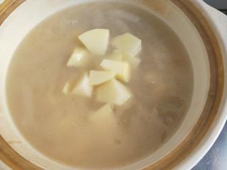番茄小排土豆汤,20分钟后加入土豆。继续炖20分钟。