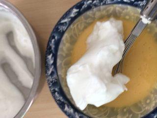 蒸蛋糕,取三分一蛋白与面糊混合。