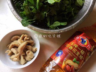 上海本帮菜 草头圈子,主要食材,草头洗净,大肠切段。