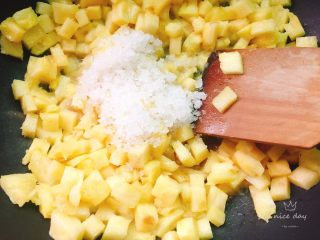快手菠萝派+春天的味道,加入白糖