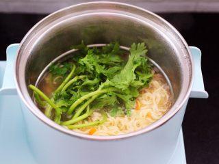 茼蒿羊肉卤味面,放入提前洗净的茼蒿。