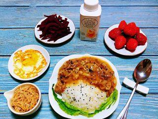 肥羊盖浇饭,美好的一天从丰盛的早餐开始噢