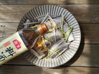 红烧带鱼,将葱姜丝一部分铺在带鱼下面,一部分撒在带鱼上面,撒一点盐,加适量料酒,腌制20分钟。