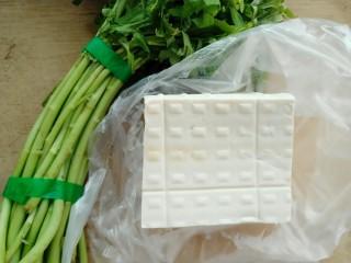 藜蒿烧豆腐,准备材料