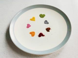 零色素卡通馒头可爱独角兽馒头,       准备紫薯粉、南瓜粉、胡萝卜粉、红曲米粉(或者甜菜粉)菠菜粉(或抹茶粉)蝶豆花粉、南瓜粉、竹炭粉(或者墨鱼汁)。如果实在没有色素也成,但是给小朋友吃的,还是果蔬粉健康一点。