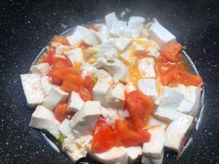 番茄烧豆腐,加入豆腐翻炒均匀,加入5克蚝油,10克生抽,适量盐,50毫升水炒匀,盖上盖子焖5分钟。