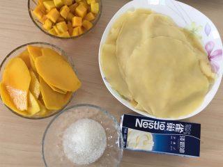 千层芒果蛋糕,准备好馅的材料。