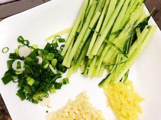 夏日凉面,切好的黄瓜🥒丝、葱花、姜末、蒜末装盘备用。