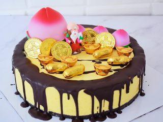 寿星公芒果慕斯蛋糕(十寸),然后摆上寿桃、寿星公、金币巧克力、花生巧克力、金元宝巧克力即可