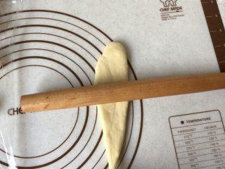 黄油卷,左手按住细的一端,右手拿擀面杖由下而上慢慢擀,再从上而下卷起来