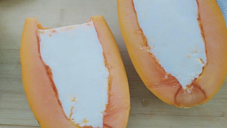 木瓜牛奶冻,一分为二切开