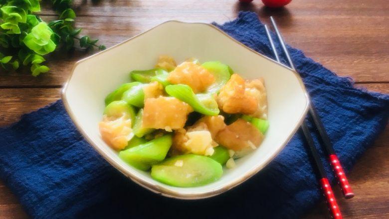 丝瓜炒油条,成品图