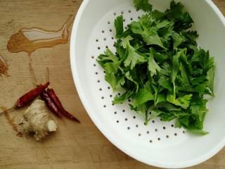 香辣黄豆芽,准备芹菜叶洗净,生姜和干辣椒
