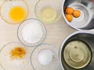 香橙戚风,准备好所有食材。