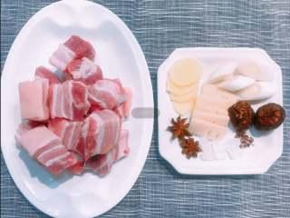 红烧肉,准备好所需食材和调料,五花肉切大块。