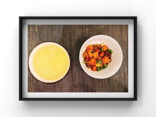 猪肝小米青菜粥,摆盘!